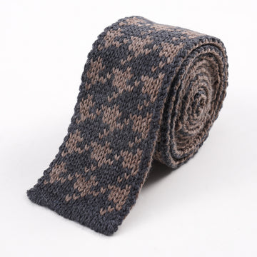 Roda Reversible Knit Houndstooth Wool Tie