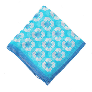 Roda Bright Blue Printed Linen Pocket Square