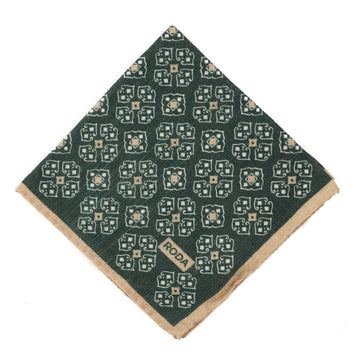Roda Medallion Print Wool Pocket Square