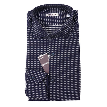 Roda Navy Dot Pattern Cotton Shirt - Top Shelf Apparel