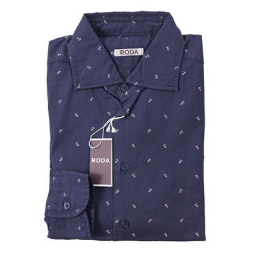 Roda Slim-Fit Anchor Print Cotton Shirt