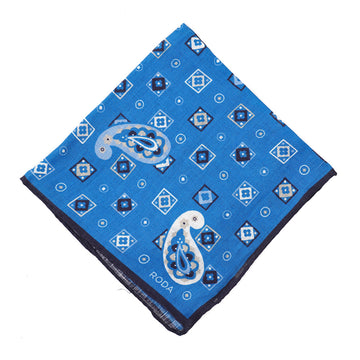 Roda Paisley Medallion Print Linen Pocket Square - Top Shelf Apparel