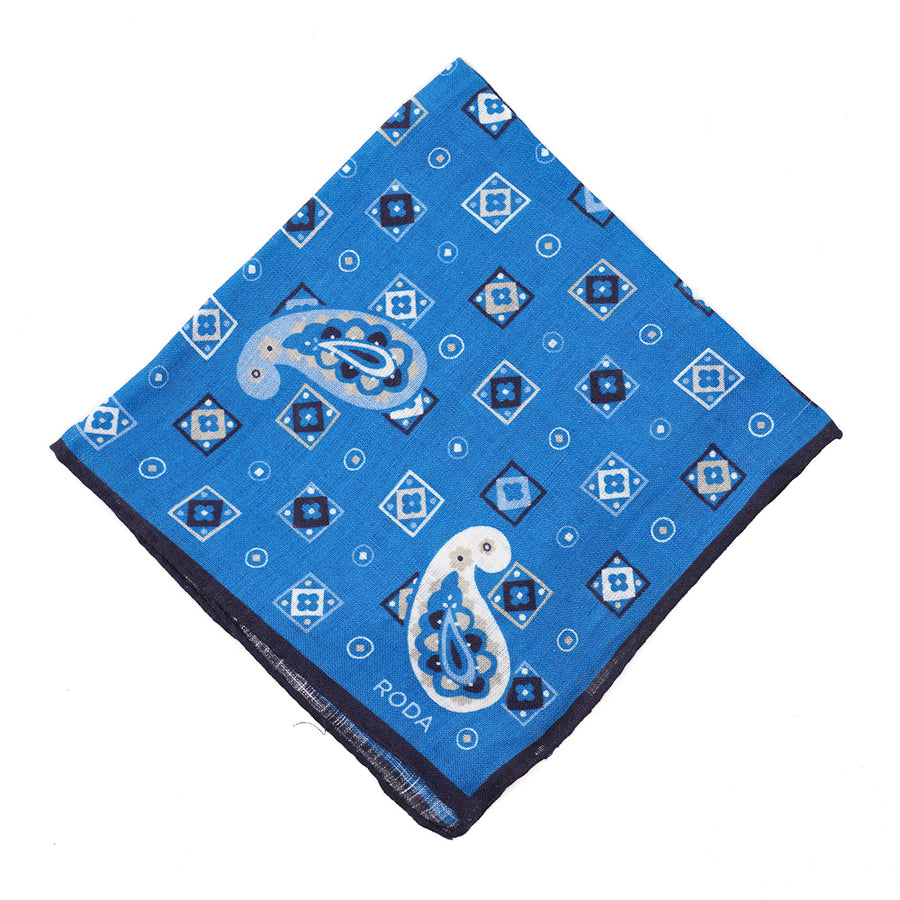 Roda Paisley Medallion Print Linen Pocket Square