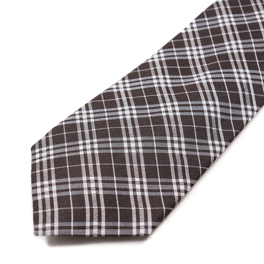 Roda Chocolate Brown Check Silk Tie