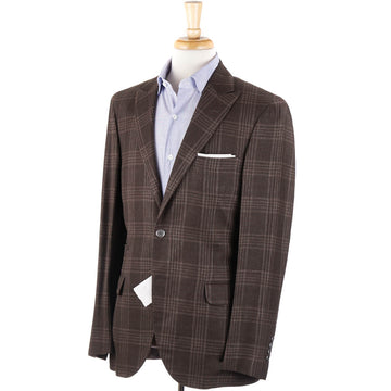 Brunello Cucinelli Brown Check Wool-Linen-Silk Sport Coat