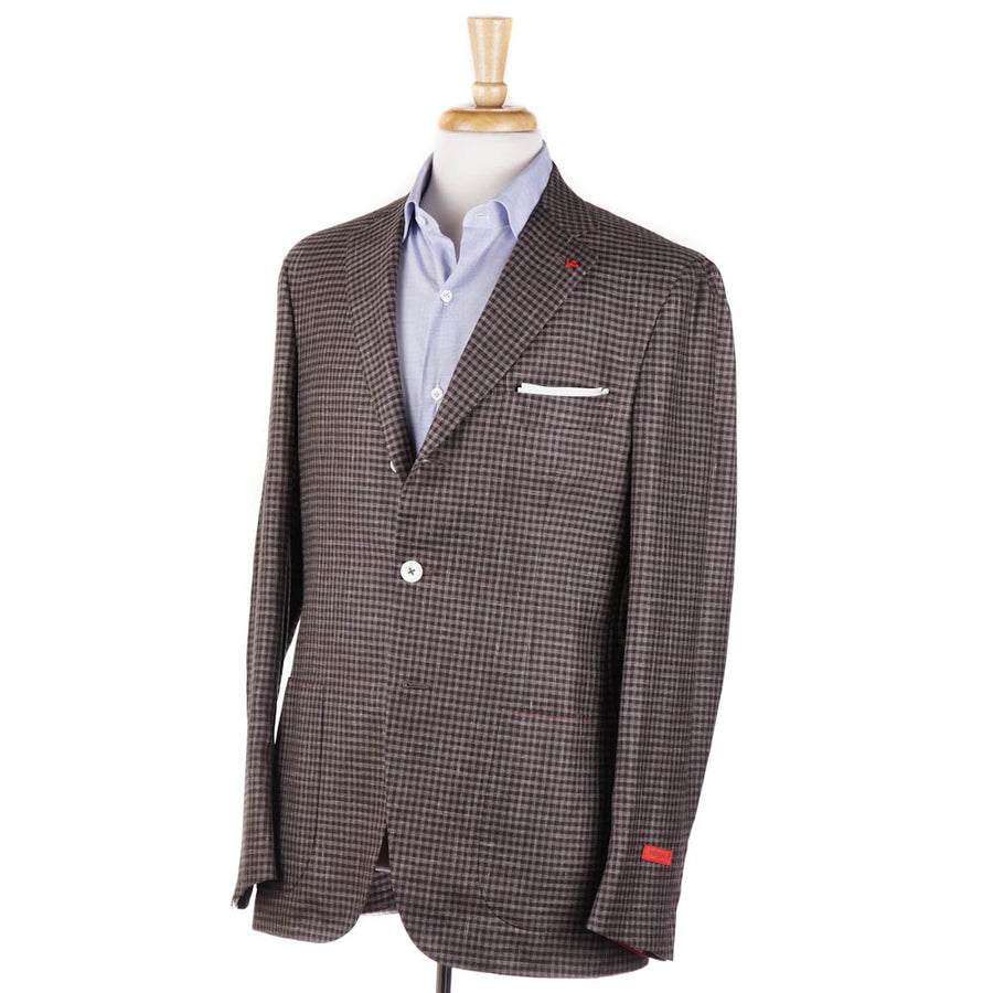 Isaia Brown Check Wool-Silk-Linen Sport Coat