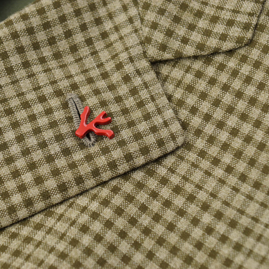 Isaia Green Check Cashmere-Blend Sport Coat