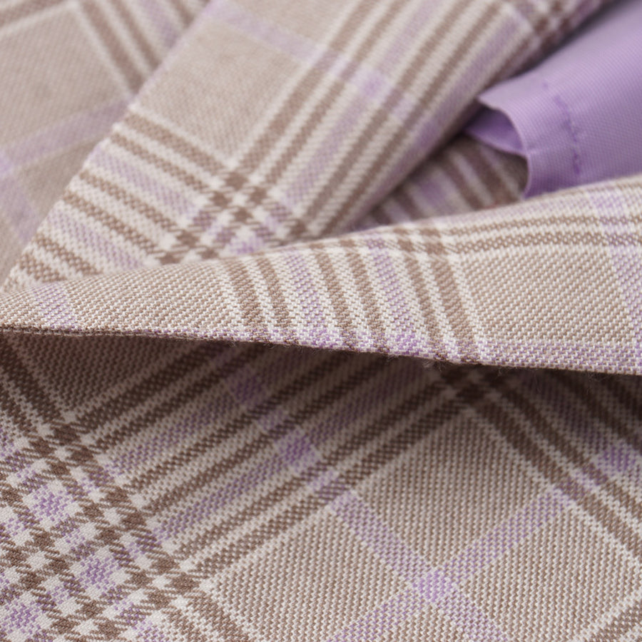 Isaia Brown and Lavender Check Cashmere-Silk Sport Coat