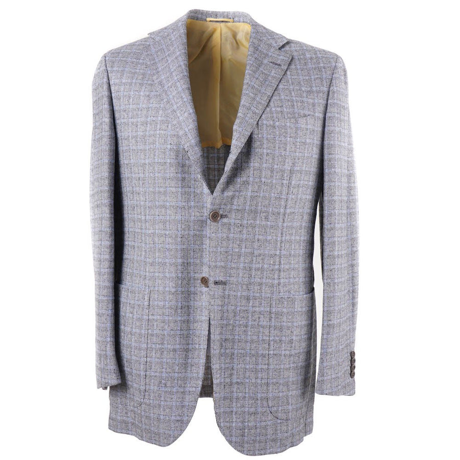 Kiton Gray-Blue Check Cashmere-Blend Sport Coat