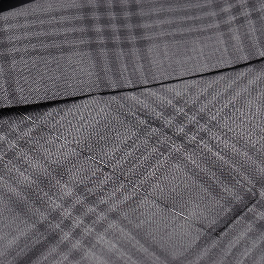 Oxxford Gray Windowpane Check Wool Sport Coat