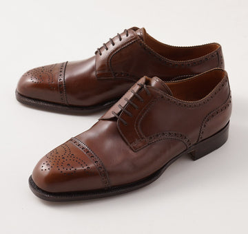 Silvano Lattanzi Brogued Cap Toe Derby in Walnut Brown