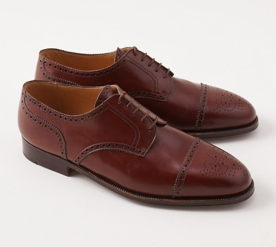 Silvano Lattanzi Brogued Cap Toe Derby in Chestnut