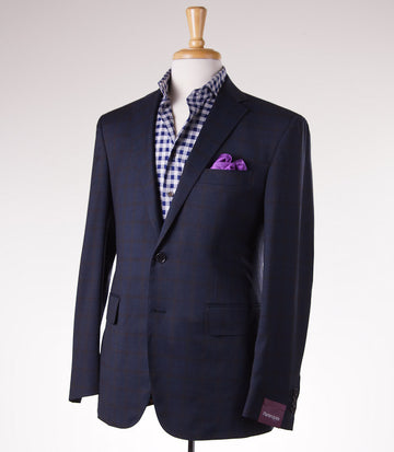 Sartoria Partenopea Slim-Fit Dark Blue Check Sport Coat - Top Shelf Apparel - 1