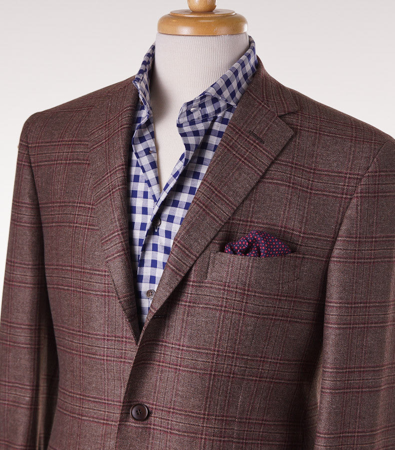 Sartoria Partenopea Brown-Burgundy Check Sport Coat - Top Shelf Apparel - 2