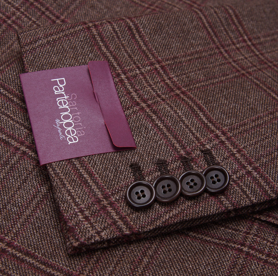 Sartoria Partenopea Brown-Burgundy Check Sport Coat - Top Shelf Apparel - 7