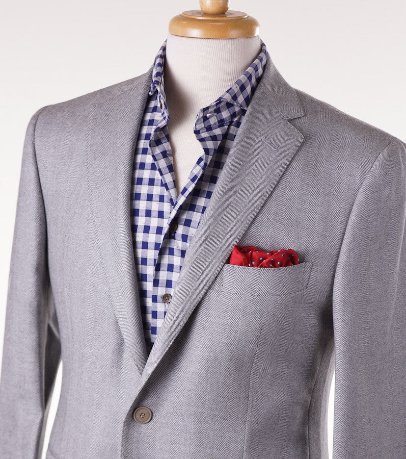 Sartoria Partenopea Gray Herringbone Sport Coat - Top Shelf Apparel - 2