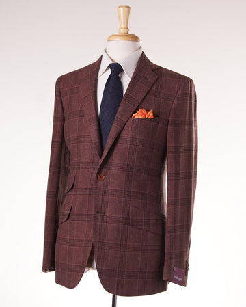 Sartoria Partenopea Rust Burgundy Plaid Sport Coat - Top Shelf Apparel - 1