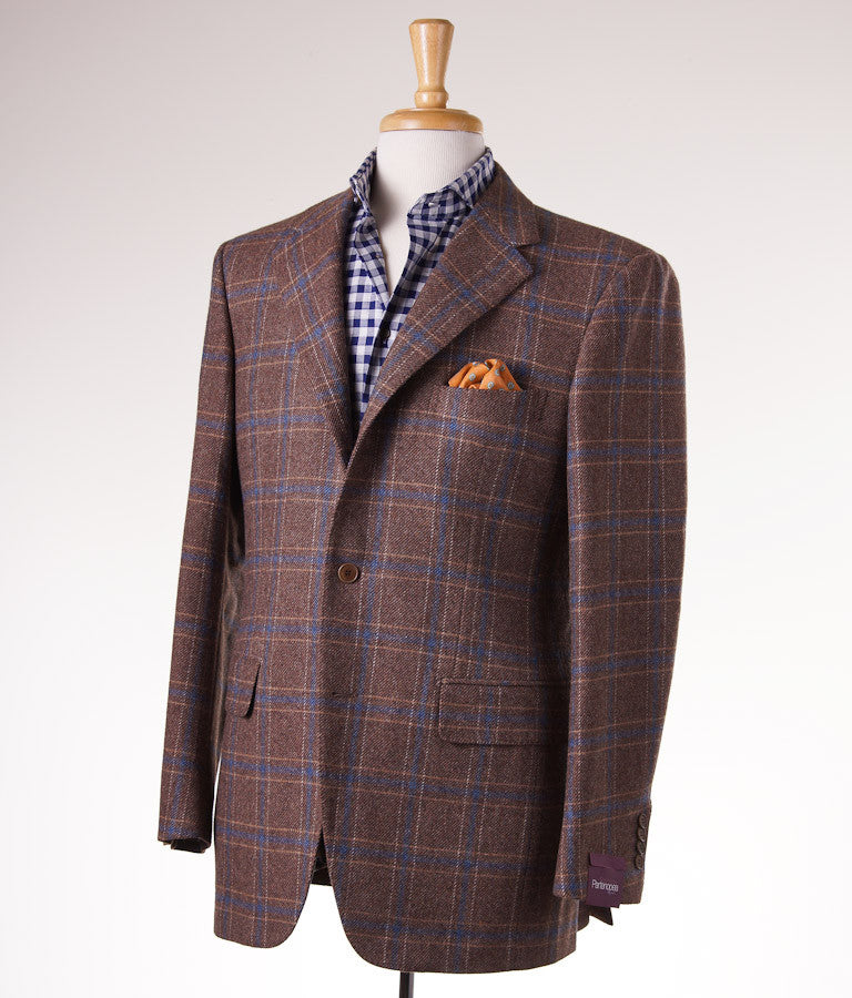 Sartoria Partenopea Tan-Blue Check Sport Coat - Top Shelf Apparel - 1