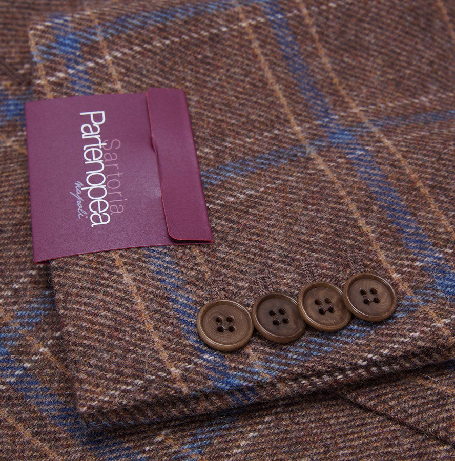 Sartoria Partenopea Tan-Blue Check Sport Coat - Top Shelf Apparel - 7