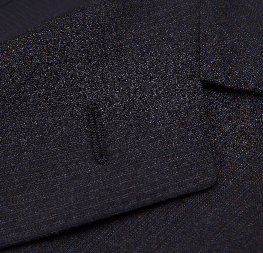 Sartoria Partenopea Slim-Fit Charcoal Stripe Suit - Top Shelf Apparel - 4