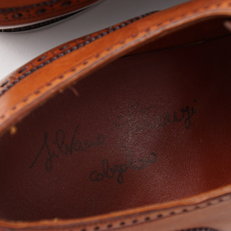 Silvano Lattanzi Brogued Wingtip Derby in Whiskey Tan
