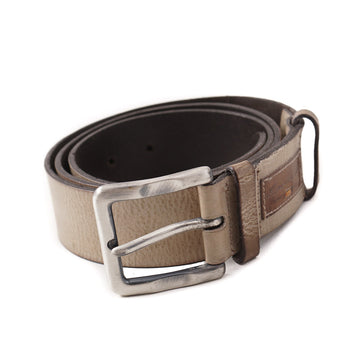 Santoni Grained Leather Belt in Antiqued Beige