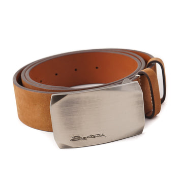 Santoni Nubuck Leather Belt in Snuff Brown
