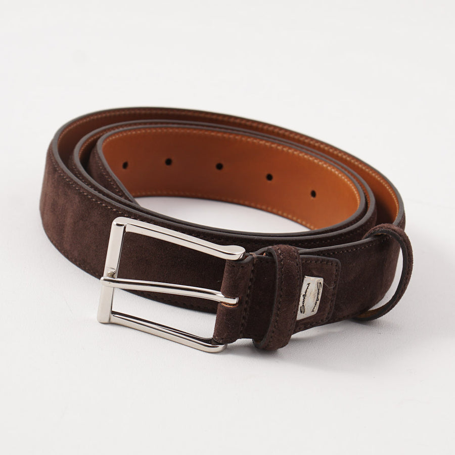 Santoni Calf Suede Belt in Chocolate Brown - Top Shelf Apparel