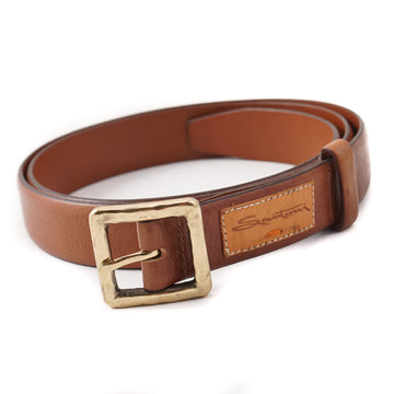 Santoni Medium Brown Leather Belt with Gold Buckle