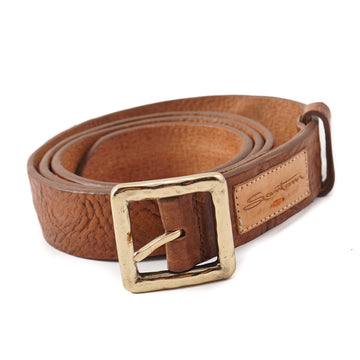 Santoni Distressed Brown Leather Belt with Gold Buckle
