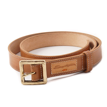 Santoni Natural Tan Leather Belt with Gold Buckle - Top Shelf Apparel