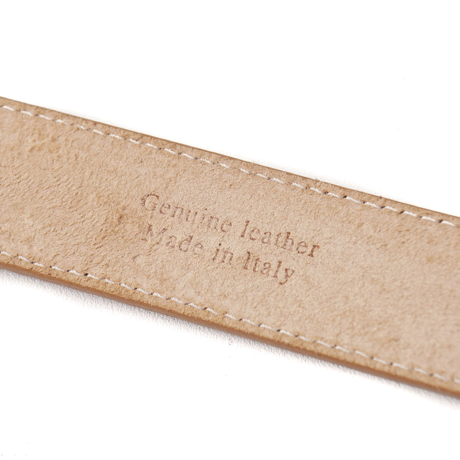 Santoni Natural Tan Leather Belt with Gold Buckle