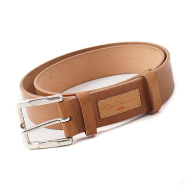 Santoni Natural Tan Leather Belt with Silver Buckle
