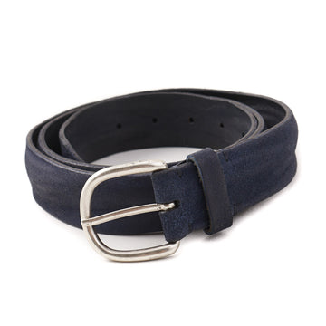 Santoni Leather Belt in Distressed Navy Blue Suede