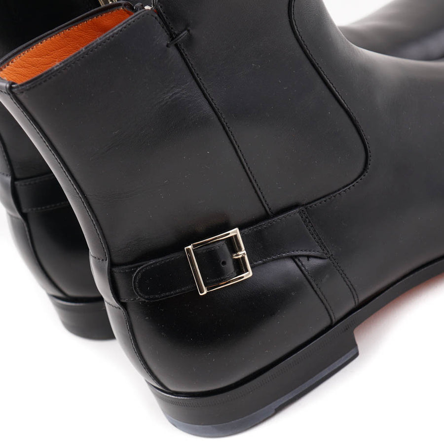 Santoni Black Ankle Boots with Buckle Detail