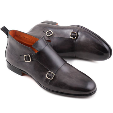 Santoni Double Monk Strap Boots in Gray - Top Shelf Apparel