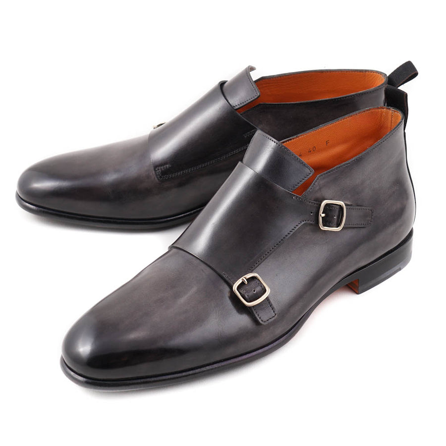 Santoni Double Monk Strap Boots in Gray