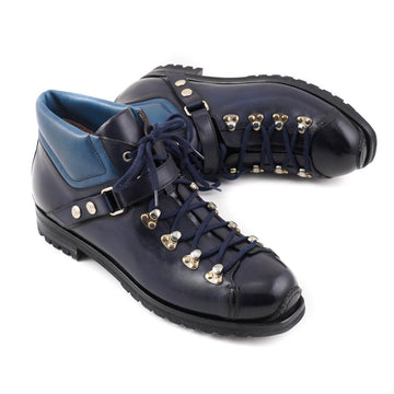 Santoni Calf Leather Hiking Boots in Navy Blue