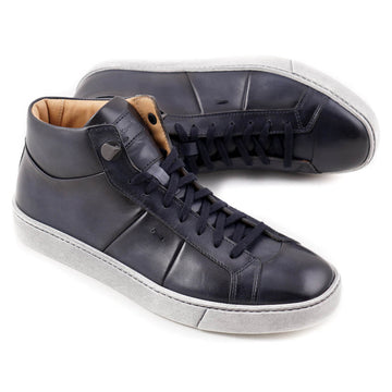 Santoni Mid-Top Sneakers in Dark Blue