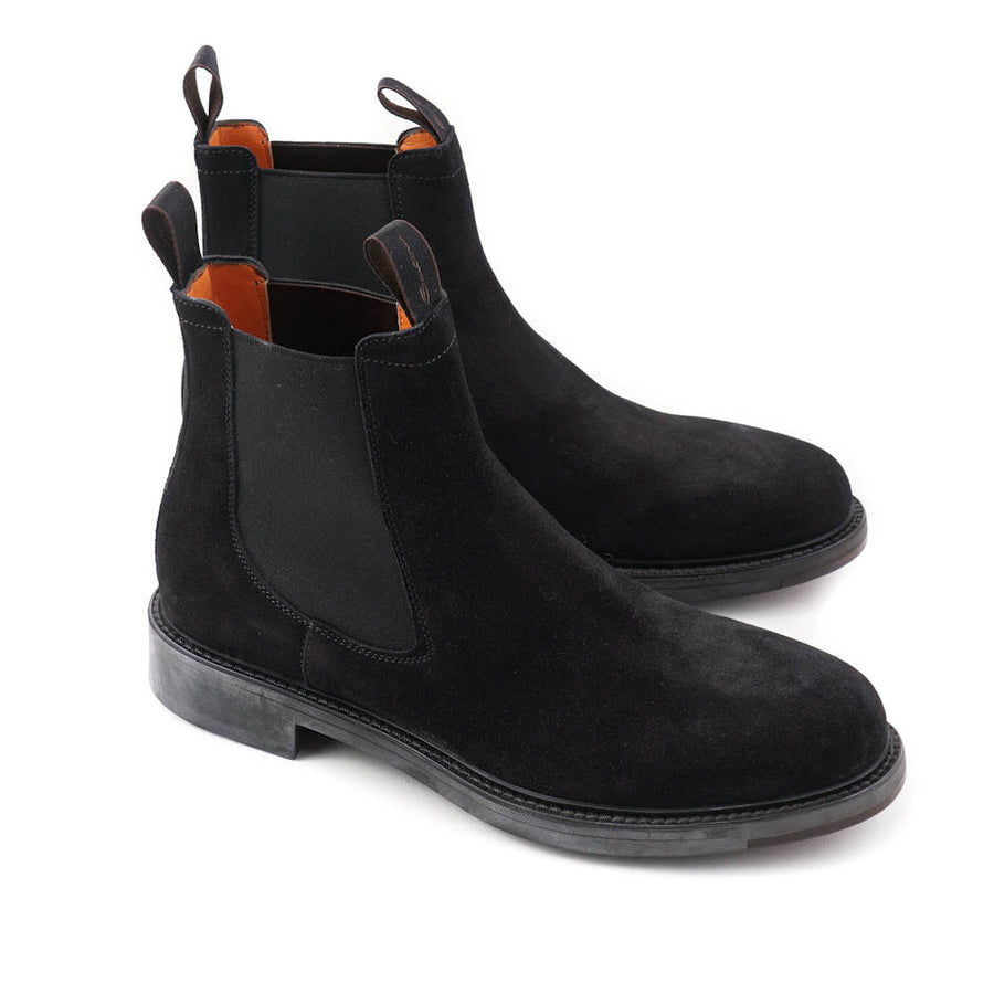 Santoni Chelsea Boot in Black Suede