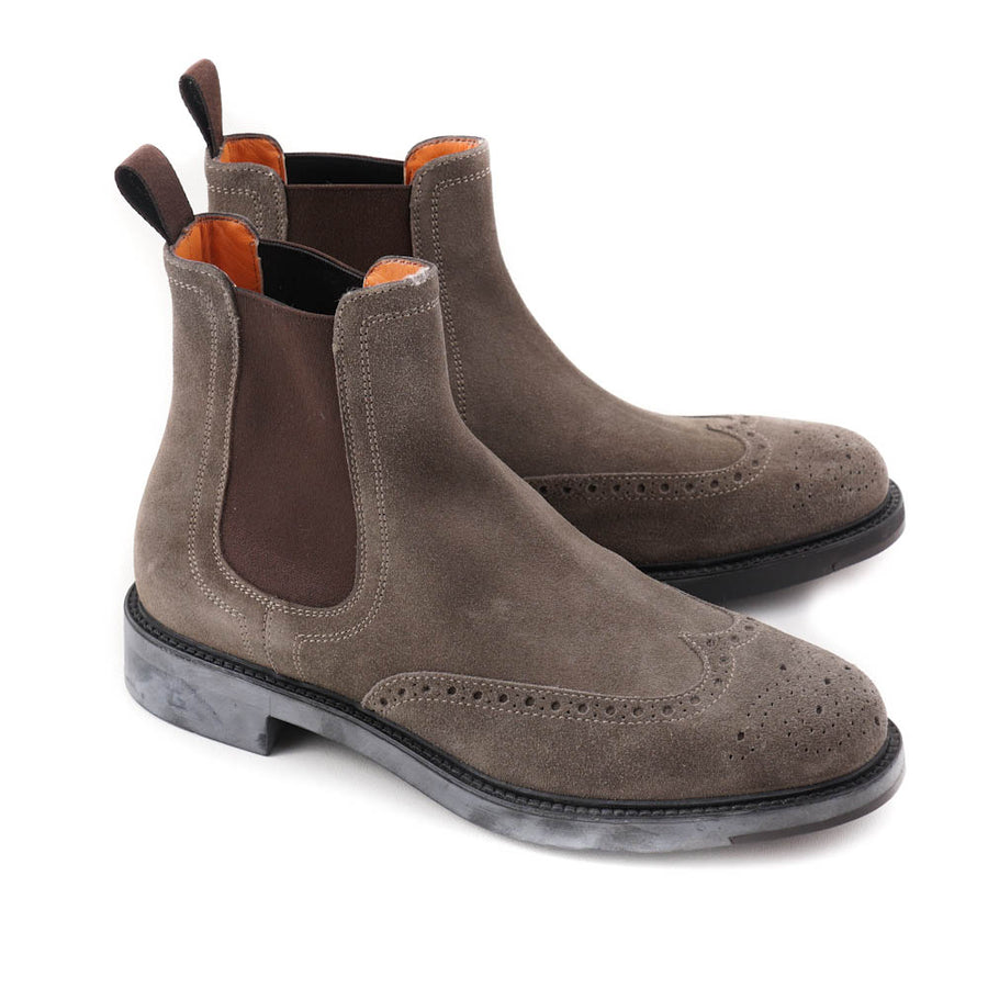Santoni Wingtip Boot in Taupe Suede