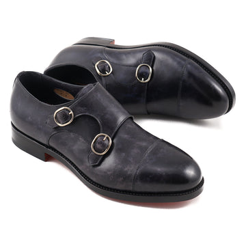 Santoni Double-Buckle Monk Strap in Navy