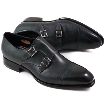 Santoni Double-Buckle Monk Strap in Dark Green