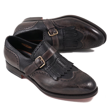 Santoni Monk Strap in Brown and Black