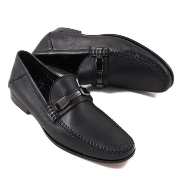 Santoni Soft Leather Loafers in Black