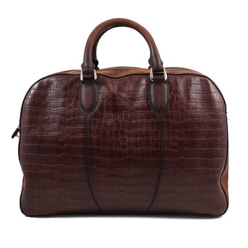Santoni Crocodile Print Leather Weekend Bag