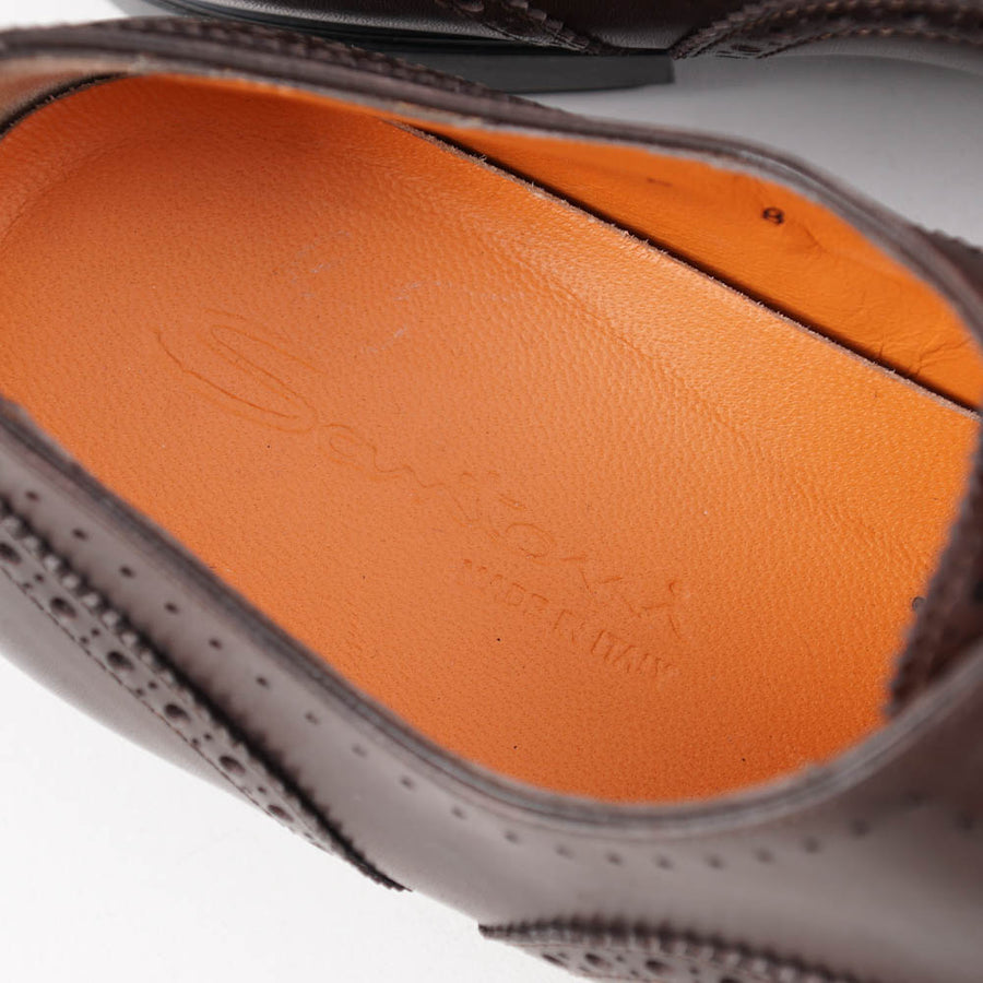Santoni Brogue-Detailed Balmoral in Brown