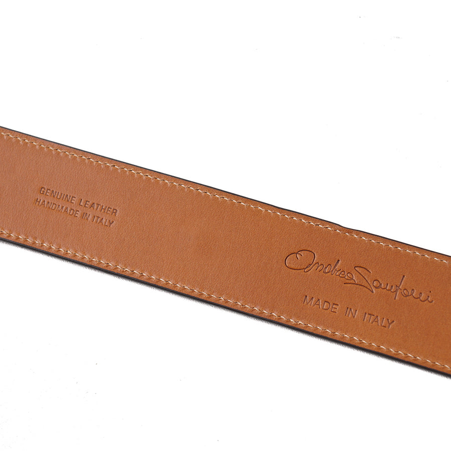 Santoni Calf Suede Belt in Medium Brown