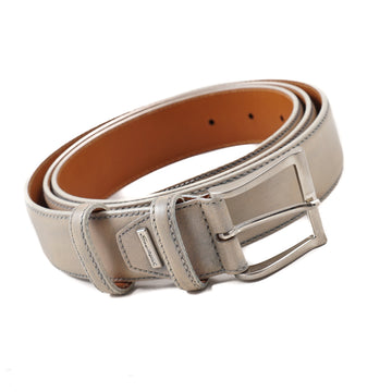 Santoni Leather Belt in Gray-Beige