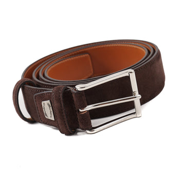 Santoni Suede Belt in Chocolate Brown
